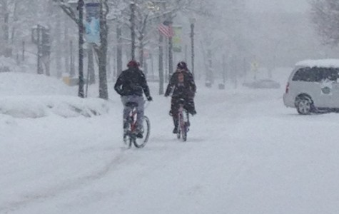 Bikers try to peddle through the heavy snow in downtown Downers Grove. Photo submitted by Maci Schaub
