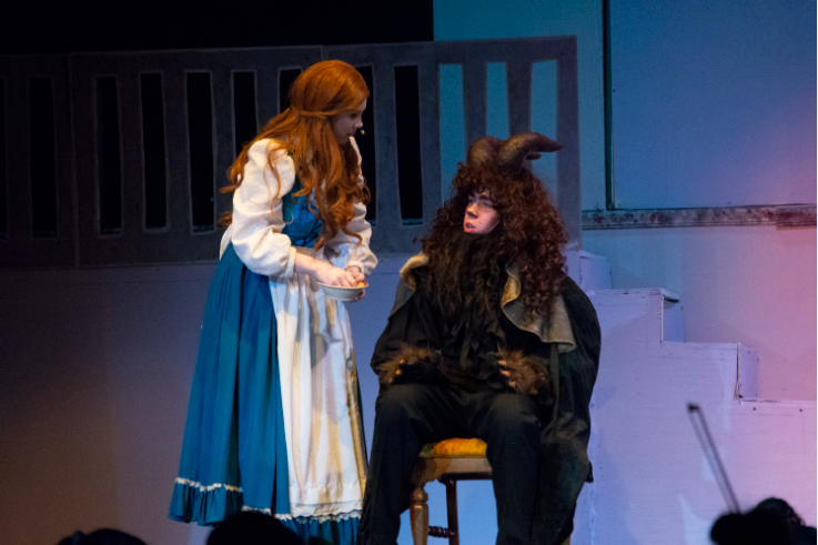 THERE'S SOMETHING THERE: Patrick Jackson (10) as the Beast and Ellie Banke (12) have a heart to heart