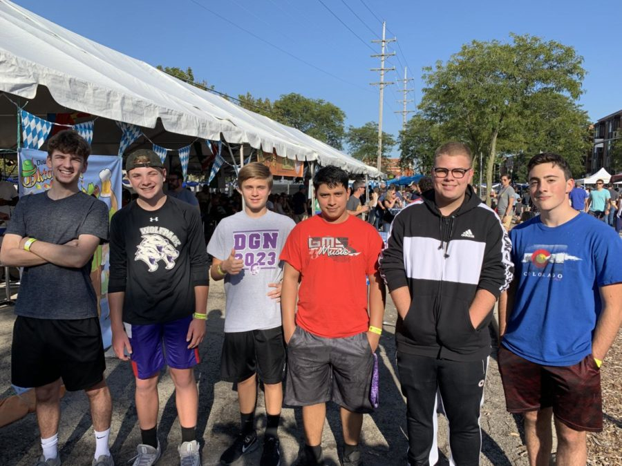 GERMAN GUYS: the annual crosstown bratwurst-eating contest's participants in order from left to right: Ian Bromfield (12), Declan Moore (9), Sebastian Pappas (9), Zach Gaytan (11), Josiah Poynter (10), Etahn Strauch (10).