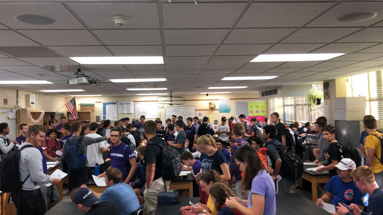 HUGE TURNOUT: over 100 people attend the 2019-2020 school year's first bass fishing meeting on Aug. 28.