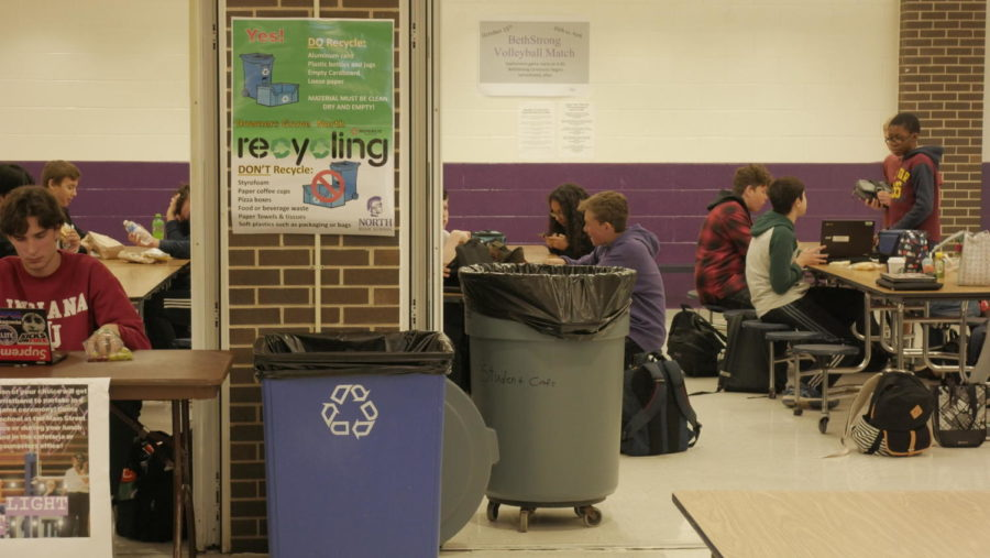 REDUCE%2C+REUSE%2C+RECYCLE%3A+posters+put+up+around+the+cafeteria+display+how+to+recycle+properly.