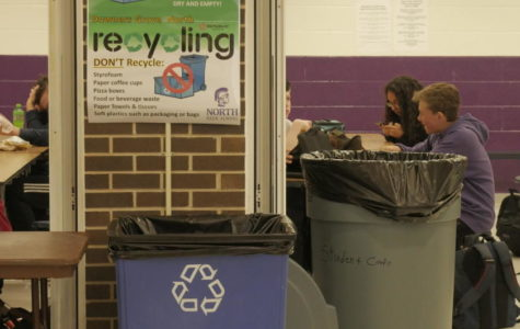 REDUCE, REUSE, RECYCLE: posters put up around the cafeteria display how to recycle properly.
