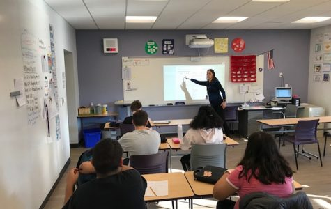 TEACHING A LESSON: Special Services teacher and D99 Hoops coach Kimberly Hartsfield gives her seventh period a vocabulary lesson Dec. 4.