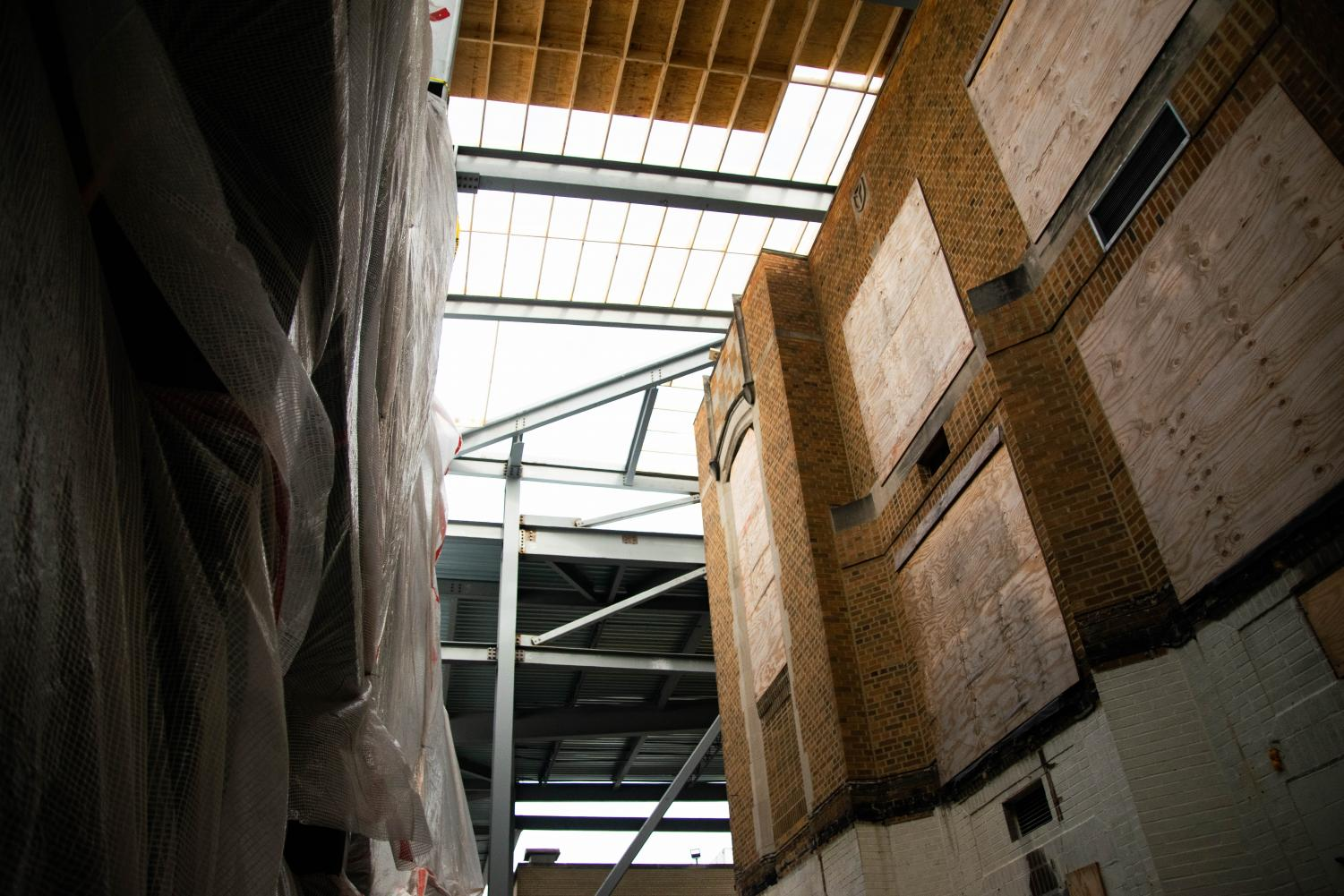 A partial view of the new skylight, meant to allow additional natural light into certain hallways.