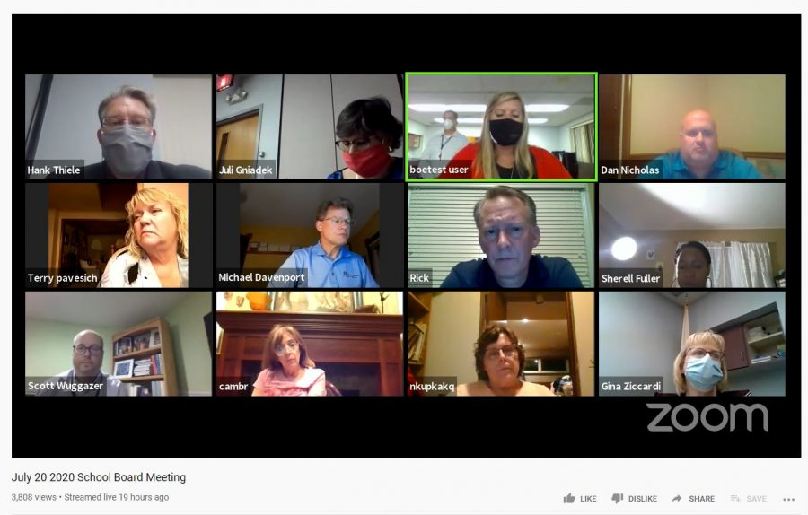 DISCUSSING: the Board of Education discusses fall plans at a virtual board meeting July 20.