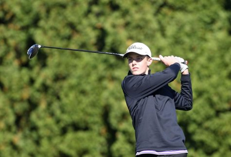 SWING: Tyler Schenk (12) tees off at the class 3A sectional last year