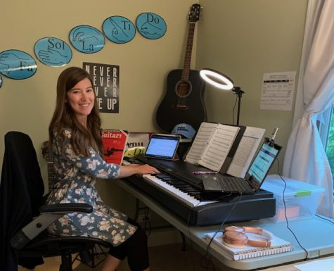 SINGING FROM HOME: Choir Director Beth O'Riordan shows off her teaching set up.