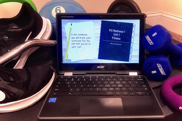 An array of common class materials for remote physical education classes