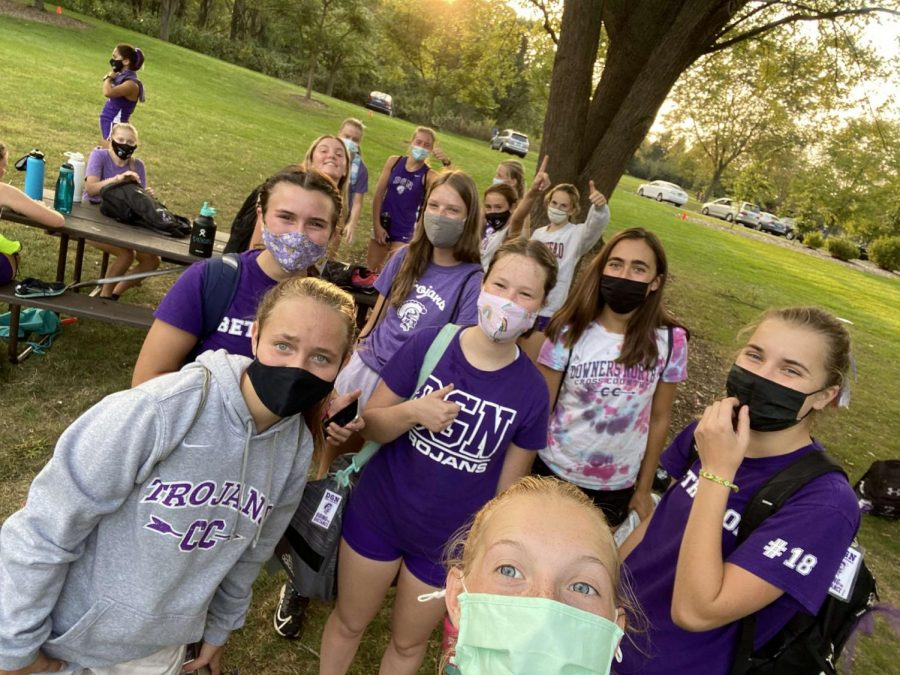 MASKED UP AT THE MEET: The girls