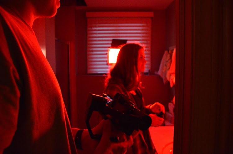 LIGHTS,CAMERA, ACTION: Actress Marin Koch (11) prepares for a scene as cinematographer Nolen Stevens (12) adjusts the lighting.