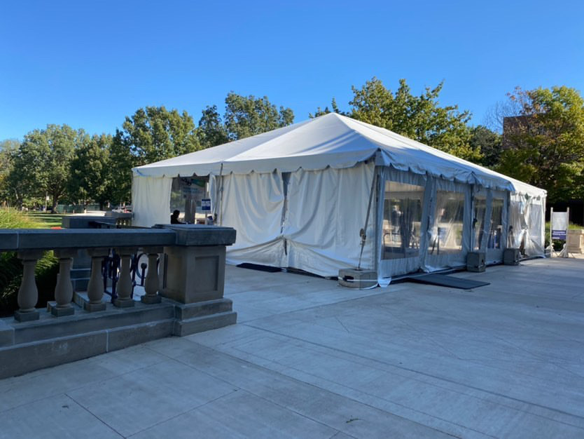STAYING SAFE: One of the many free walk-up testing locations around UIUC
