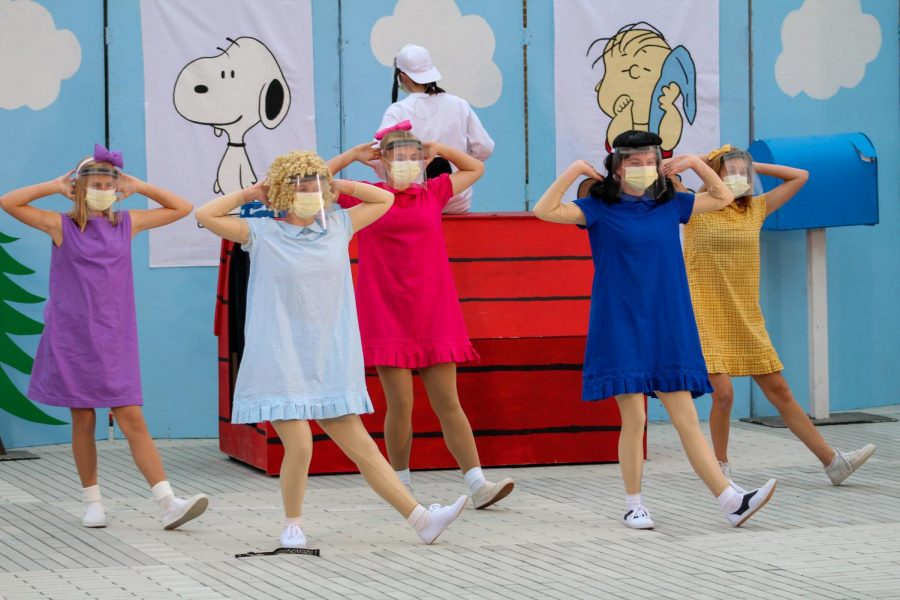 SHOWTIME: The cast of Snoopy prepare practice choreography during their dress rehearsal.