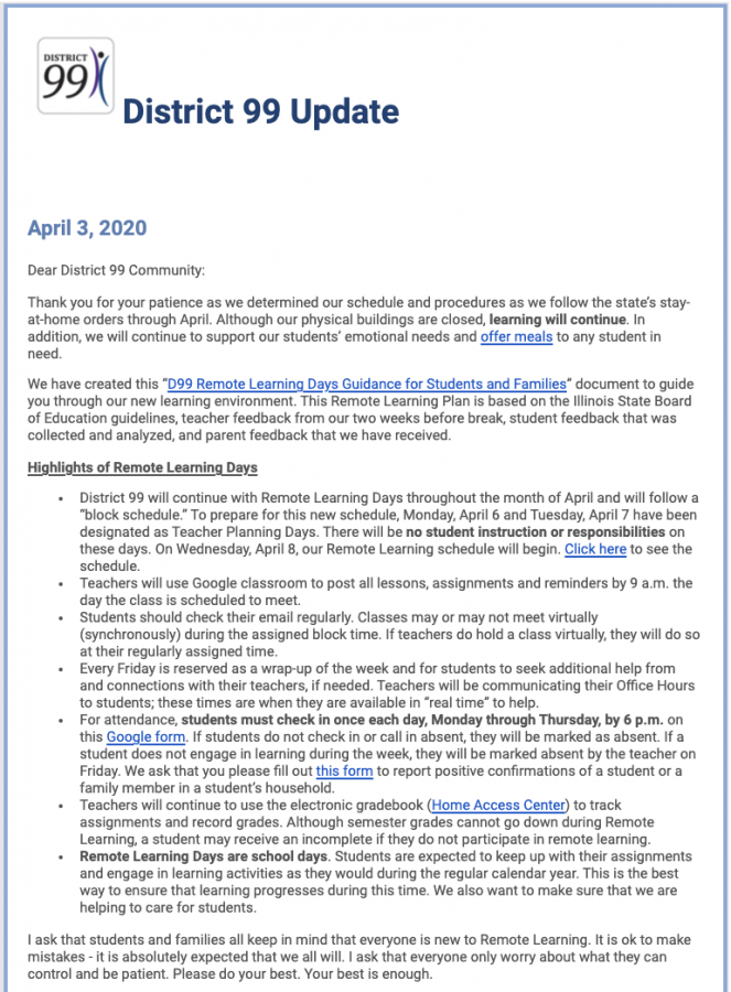 SPRING SCHEDULE: an April 3 email sent out by superintendent Hank Thiele outlining the springs schedule.