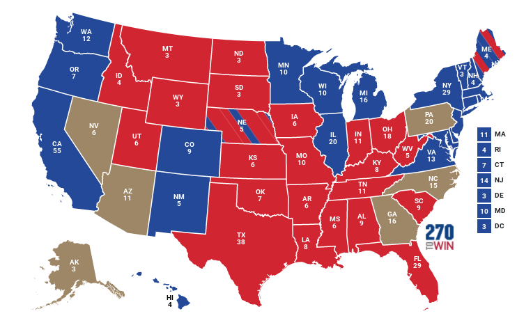 A look at the map: With five battleground states remaining, the candidates inch closer to 270 electoral votes.
