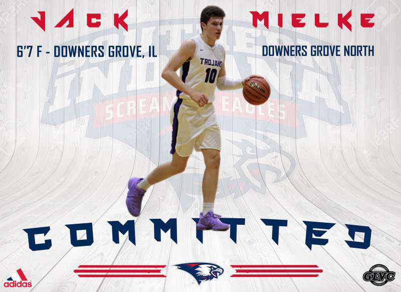 Senior Jack Mielke proudly announces his commitment to the University of Southern Indiana