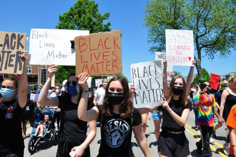Marching for racial equality: Gwen Casten, Claire Gorey, and Audrey Gorey protesting at the Say Their Names rally, June 7, 2020