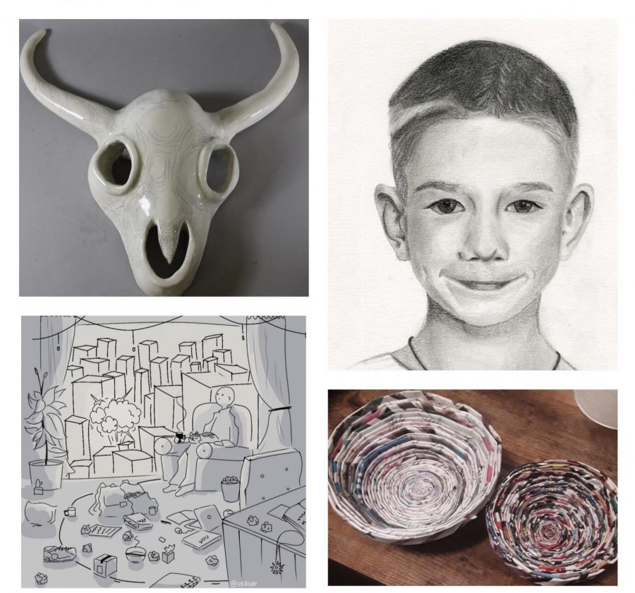 CREATIONS DURING COVID: Pieces by art club students during E-learning.