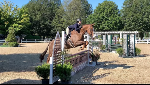 RIDING IN STYLE: Equestrian Emmy Dolin (12) pictured riding the horse she took to Nationals named Armada.
