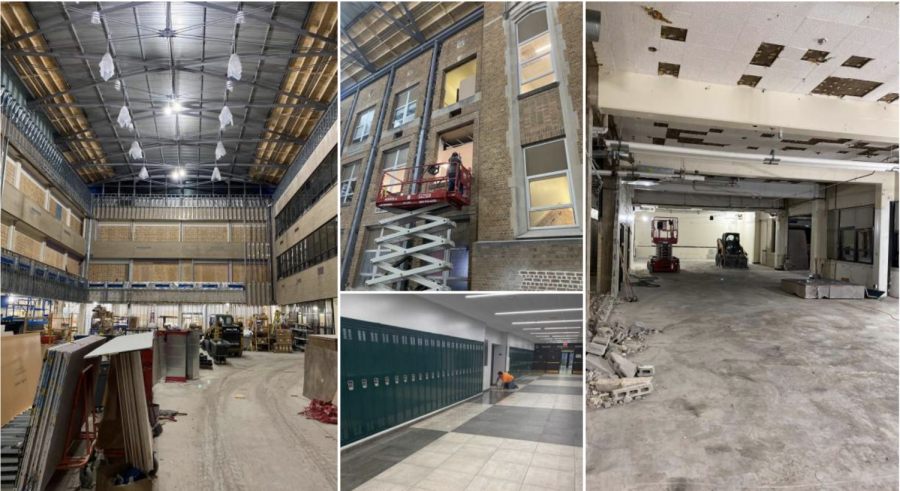 MAKING PROGRESS: a photo collage displaying the progress made on the commons and purple gym hallway at DGN.