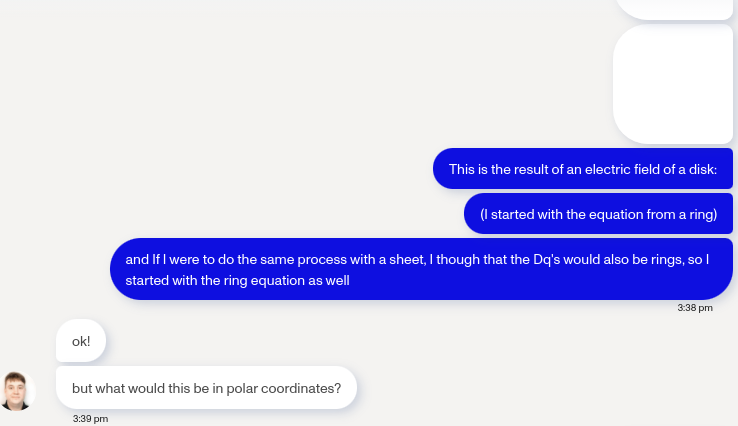 BACK AND FORTH: A conversation between Jessica Spahn (12) and a physics tutor. Spahn explained that the tutor kept telling her to convert to polar coordinates although she was using the coordinates given in the problem's description.