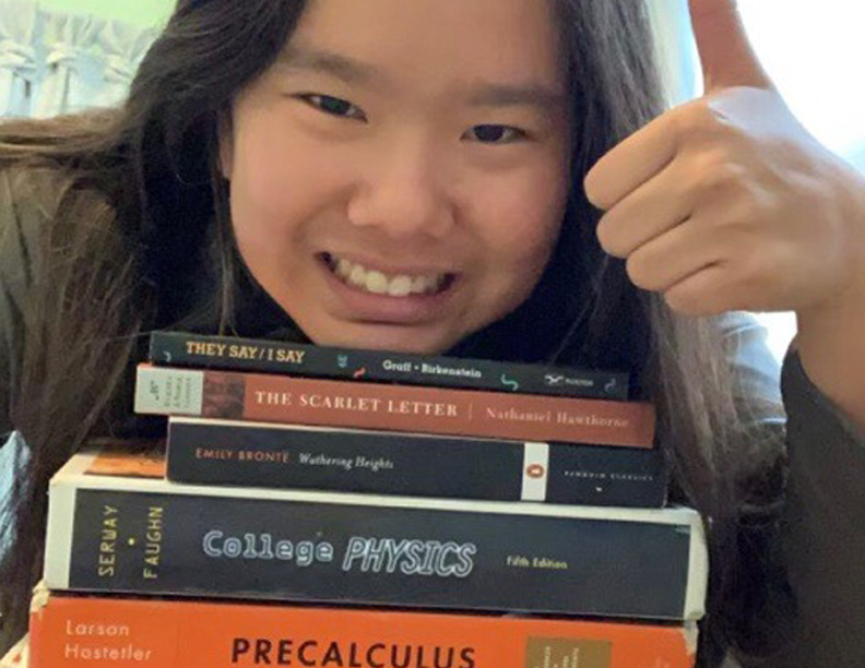 HOME SWEET HOME: Junior Mia Chen prefers learning at home, which she says greatly reduces her stress