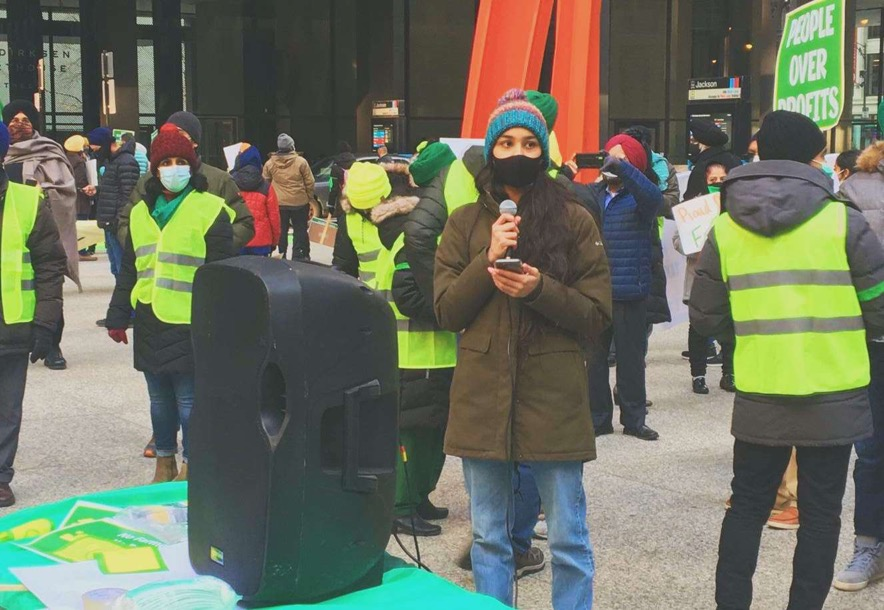 USING HER VOICE: Amneet Kaur (10) speaks about the Farmers' Protest at a protest in Chicago.
