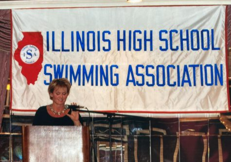 HONORING A LEGACY: Jennifer Heyer-Olsen gives induction speech as she is welcomed in to the IHSA Swimming hall of fame.