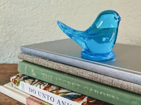 BALLAD OF THE BLUEBIRD: Perched on top of a stack of books is a bluebird figurine, gifted to Madeline Riske by her grandmother.