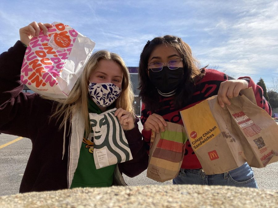 ON A QUEST: Olivia Shirk and Vanessa Lopez are on the hunt for the best breakfast sandwich.
