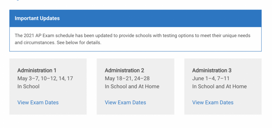 ADMINISTRATION DATES: the dates that online and in-person AP tests will be administered.