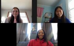 TRAILBLAZING: Ross Riot co-hosts Madeline Schallmoser (top left) and Emma Cho (top right) interview Mo'ne Davis.