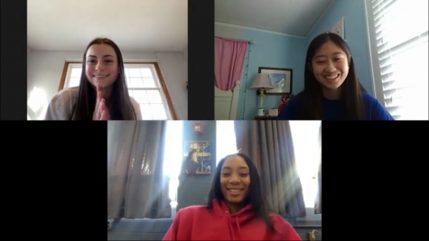 TRAILBLAZING: Ross Riot co-hosts Madeline Schallmoser (top left) and Emma Cho (top right) interview Mone Davis.