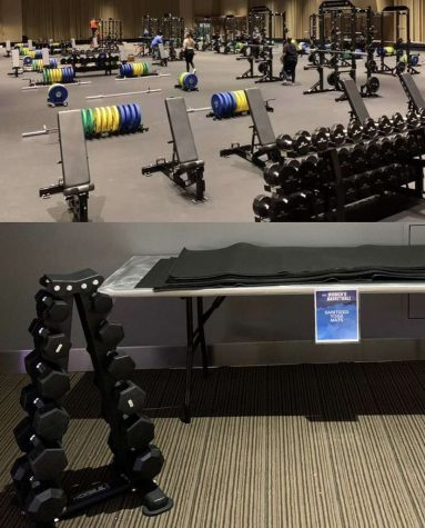 GENDER DISPARITY: Images showing differences between the mens weight room (top) and that of the womens (bottom) went viral during March Madness tournament.