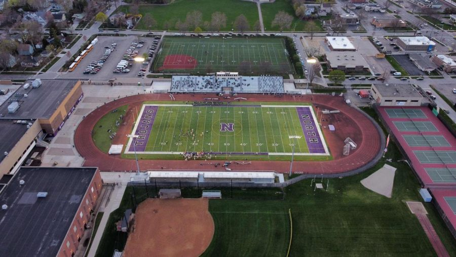 OVERHEAD SHOT: Students gather at Carsten's Field April 9 for a home football game.