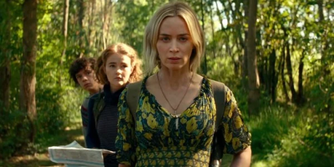QUIETLY DISQUIETED: Evelyn, Regan and Marcus Abbott (played by Emily Blunt, Millicent Simmonds and Noah Jupe, respectively) commence their search for any other living humans after the film's infamous creatures wreaked havoc on their home.