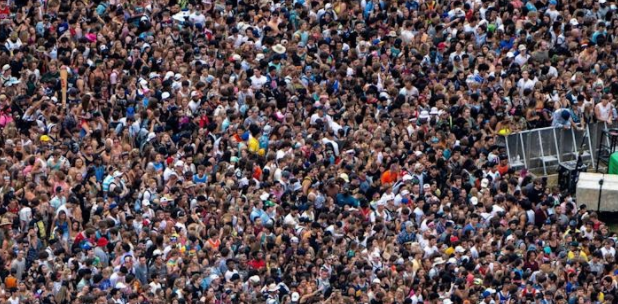 Above the crowds: Thousands of people attend Lollapalooza 2021 despite rising concerns over the COVID delta variant.