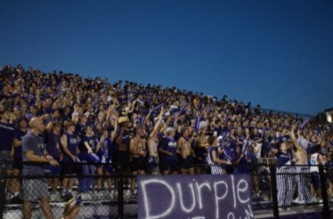BACK IN A BIG WAY: N-Zone leaders had the student section packed Friday Night as the theme was Purple Out.