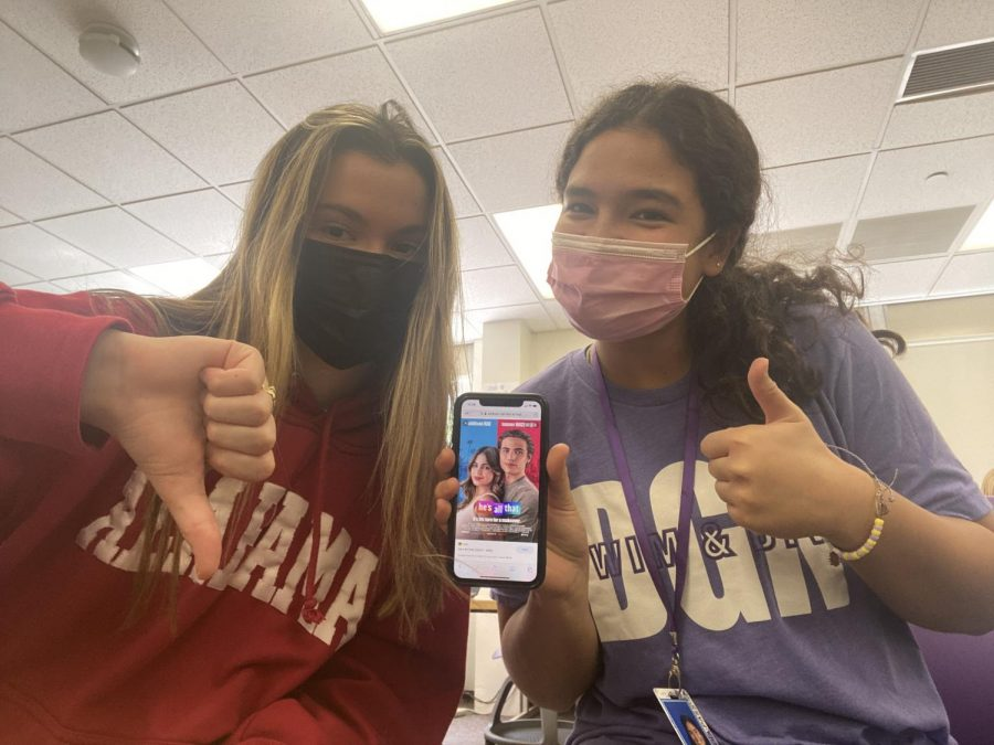 HEAD-TO-HEAD: Seniors Gretchen Lucina and Maeve Dietrich write about the new movie Hes all that.