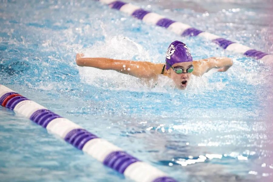 CATCHING HER BREATH: Olivia Asay (12) comes up for air competing her specialty: the butterfly stroke.