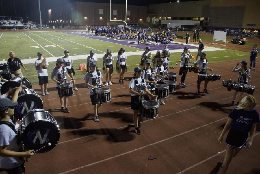 HALFTIME SHOW: the drumline puts on an impressive first performance during halftime and riles up the students for the second half