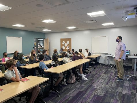 LEARNING: English teacher Mike Melie teaches his fourth period sophomore English II honors class as they get back into the groove of in-person learning