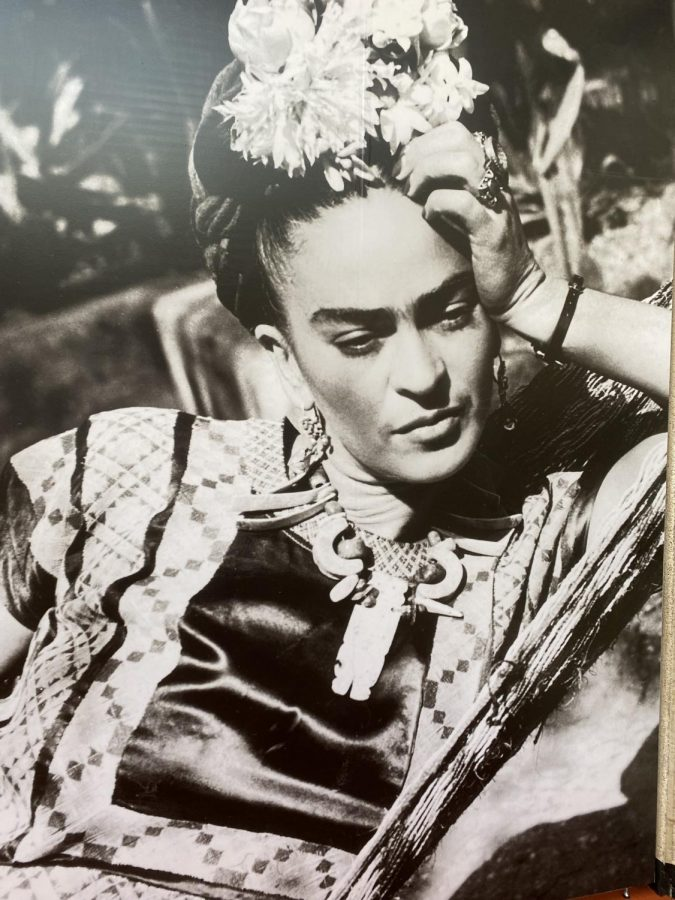 ADORNED: Mexican artist, Frida Kahlo in 1950, basking in her patterned and jeweled outfit.
